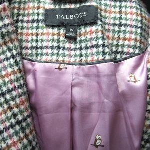 Talbots Houndstooth Wool Blend Riding Jacket